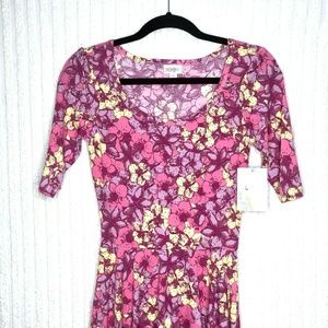 LuLaRoe Nicole Pink Floral Fitted Dress